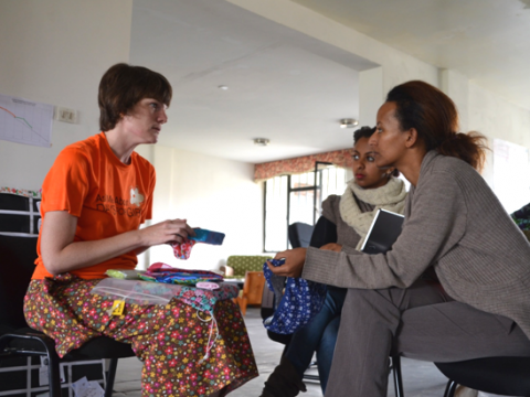 A representative from Days for Girls meeting with Whiz Kids Workshop to discuss a partnership with WKW in Ethiopia (Africa)