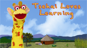 Tshai, our favorite animated giraffe, posing in front of her house for Tsehai Loves Learning